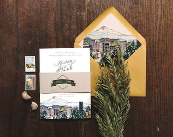 Rustic Watercolor Wedding Invitation: Portland, Oregon