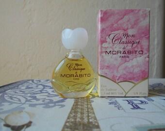 Mon Classique de Morabito eau de toilette miniature splash bottle, new in box. 1/8 oz or 7.5 ml vintage fragrance