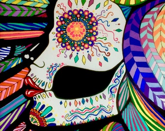 12x18 18x27 or 24x36 Stretched Canvas Print - Original Painting Confetti Dia de los Muertos Low Brow Tattoo Day of the Dead Skeleton Woman
