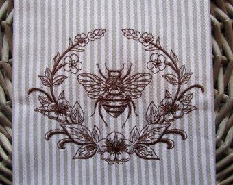 Tea Towel - Laurel and Napoleonic Bee - Whim - Earl Grey Stripe