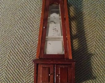 Miniature Dollhouse China Cabinet, Curio Cabinet, Doors, Mirror, Wood