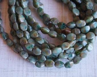 Green Aqua Picasso Pinch Beads - Czech Glass Pinch Beads - 3x5mm Pinches - Bead Soup Beads