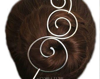 Silver Hair Barrette Small Nickel Silver Bun Holder with Hair Stick Metal Hair Slide Clip Long Hair Accessory Gift for Women