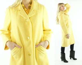 60s Yellow Wool Coat Winter Overcoat Vintage 1960s Large L XL X-large Mod Preppy Rockabilly Pinup Easter Dress Coat Meri K