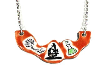 Science Sparkle Surly Ceramic Necklace with Rhinestone Chain