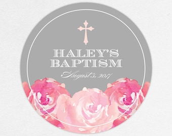 Baptism Favor Tag, Baptism Favor Label, Christening Favor Tag, Christening Favor Label, Cross, Floral, Floral Baptism, Watercolor, Haley