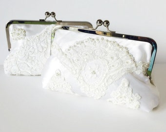 BRIDES WEDDING Day CLUTCH, Heirloom, Repurpose old wedding, wedding dress clutch, wedding clutch  dress -  Made from Moms Dress