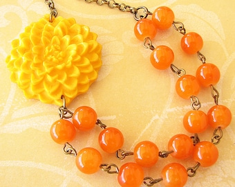 Beaded Necklace Yellow Necklace Multi Strand Necklace Flower Necklace Orange Jewelry Orange Necklace