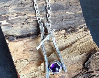 sterling silver handmade twig style oxidised Amethyst necklace, hallmarked in Edinburgh
