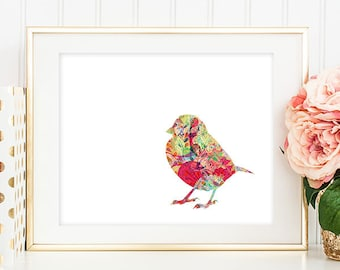 Bird Art Print - 5x7 Sparrow Art, Sparrow Print, Bird Artwork, Bird Print, Printable Wall Art