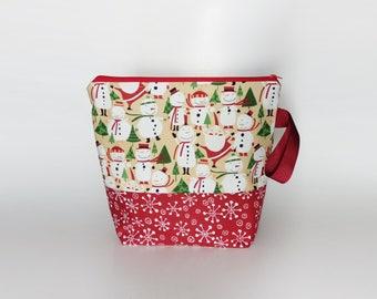 Medium Knitting Project Bag, Cute Snowmen Project Bag, Festive Project Bag, Christmas Knitting Bag