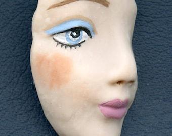 Fleshtone detailed blue eyed Polymer Clay Face Shard  FLPR 1