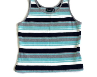 90's striped ribbed crop tank top S