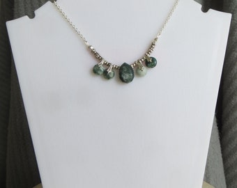 moss agate drop and disk necklace