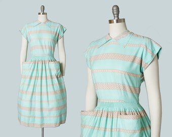 Vintage 1940s Dress | 40s Striped Mint Green Blue Cotton Button Back Full Skirt Day Dress with Pockets (medium)