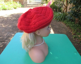 Handmade Knitted Red Beret for a Girl Aged 8 - 12 years