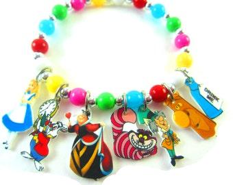 Alice in Wonderland Charm Bracelet, Alice in Wonderland Jewelry, Alice in Wonderland Party Favors, Alice in Wonderland Birthday