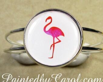 Pink Flamingo Cuff Bracelet, Flamingo Bracelet, Flamingo Jewelry, Kitchy Bracelet, Flamingo Gifts, Kitchy Gifts, Kitchy Jewelry