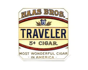 Haas Bros. Traveler Outer Cigar Label