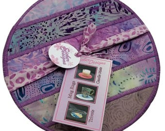 Fabric Trivet, Mug Rug, Candle Mat in Striped Lavender Batiks (set of 2)