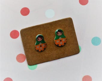 Green Russian Doll Earrings, Teeny Tiny Earrings, Matryoshka Doll Jewelry, Cute Earrings