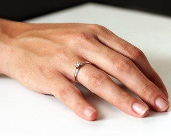 Center stone diamond engagement ring-14k white gold engagement ring-Unique clean design ring-Promise ring-Love ring-VS2 quality diamond ring