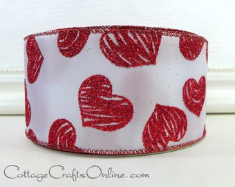 """Valentine Wired Ribbon, 2 1/2"""" wide, Glittered Red Hearts Striped, TWENTY FIVE YARD Roll, Offray """"Sincere"""" Wire Edged Valentine's Day Ribbon"""
