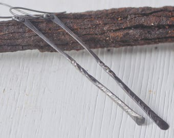 stick earrings, bar earrings, twisted and hammered, thin drops, long dangles, forged