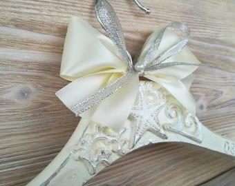 Beach wedding hanger Bride hanger Beach hanger Personalized hanger Beach wedding Name dress hanger   Wedding dress hanger Bridal  gift