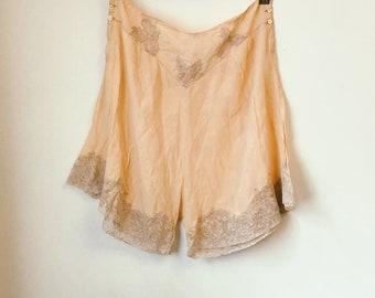Vintage 1930's silk women's lingerie panties with lace detailing.