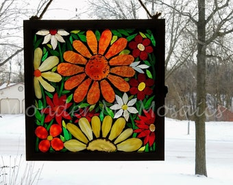 Stained Glass Mosaic - Garden of Sunrise-Colored Geode Flowers