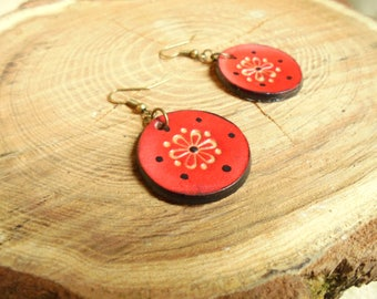 Leather and brass earrings small Red Ladybug flowers Bohemian nature by Lou delune