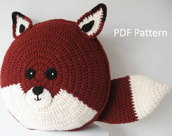 Fox Pillow - Cushion  CROCHET PATTERN - crochet patterns for animal pillows - Kids Birthday present - Baby shower nursery gift
