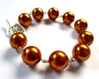 Swarovski Copper Pearl Bracelet