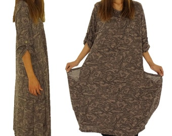 HT900BR dress layered Balloon shape long sleeve size 40-52 Brown plus size jersey