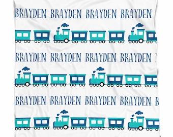 Personalized train blanket, baby boy blanket, Custom name blanket, blanket with name