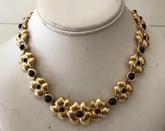 Vintage Nina Ricci Gold Tone Metal Flower Chocker Necklace  & Bracelet Set Stamped