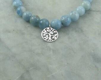 Winter Ayurvedic Mala Bracelet  - Aquamarine  - Tree of Life Charm -  21 Bead Wrist Mala - Buddhist Prayer Beads - Pitta - Product ID 38