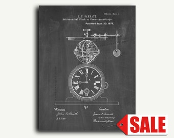 Patent Art - Astronomical Clock Or Cosmochronotrope Patent Wall Art Print