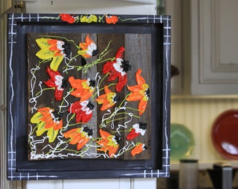 Rugged Wildflowers, 16x16, Black Frame, Colorful Abstract Floral Impasto Painting,handprinted frame, handmade,home decor, handmade Item# 301
