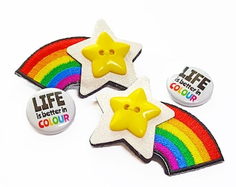 Shooting Star Brooch - Rainbow Star Brooch - Rainbow Jewellery - Felt Brooch