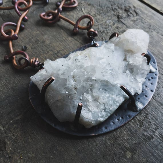 Quartz Cluster with heavy artisan copper chain  - Rustic  boho statement necklace necklace