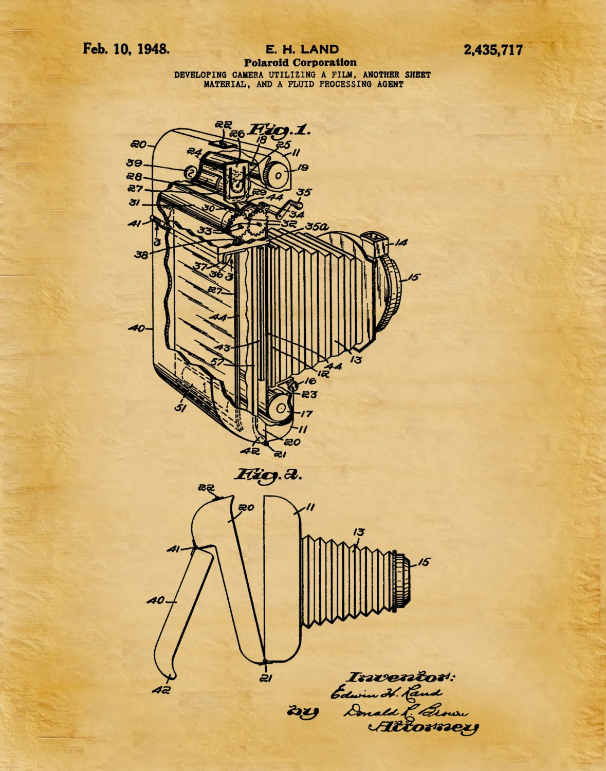 1948 Polaroid Land Camera Patent - Art Print - Poster Print - Wall ...