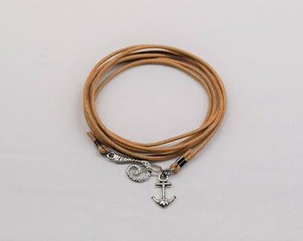 Leather wrap bracelet, Anchor