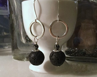 Lava Bead Dangles, Lava Earrings, Black Lava Earrings, Diffuser Jewelry Oils, Geometric Earrings, Bead Earrings, Diffuser Earrings, Earrings