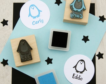 Personalised Children's Penguin Rubber Stamp  - Personalized Stamp - Custom Stamper - Name Stamp - Stocking Stuffer - Christmas stamp