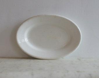 Antique Ironstone China Platter, White Pottery Dish, Plate