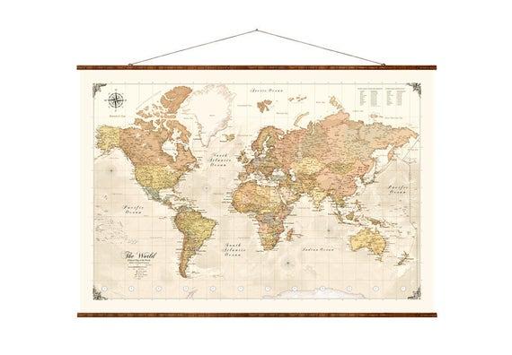 Modern world map 31x44 canvas map modern map gumiabroncs Images