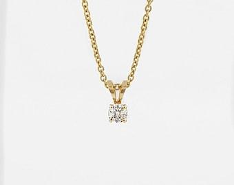 Single Diamond Pendant, 14k Gold Pendant, Solitaire Pendant, Small Diamond Pendant, delicate Diamond Pendant, single studded pendant, parent