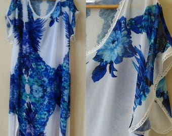 Casual Short Sleeved Chiffon Dress,  Plus Size Embellished Beach Dress,    Double Side Slit Long Tunic Dress,  Resort Wear